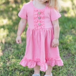Dresses - FINAL PRICE Pink Coral Ruffle Short Sleeve Dress